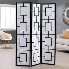 Black Lantern Silhouette 3-Panel Screen Room Divider - 85087
