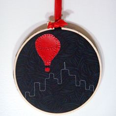 Red Balloon, City Scape embroidery