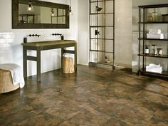 Vinyl that  looks like slate tile, but with zero maintenance: Lexington Slate - Multicolor Luxury Vinyl A6704