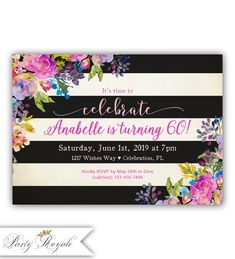 60th Birthday Invitations for Women 60th Birthday by PartyRoyale