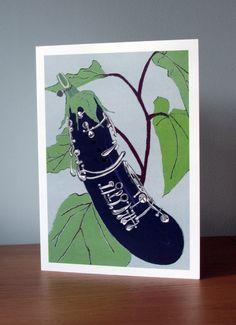Vegetable Card. Aubergine. Clarinet. Birthday by ShedThreeStudio