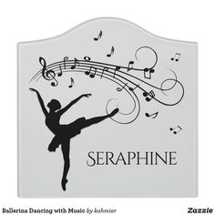 Ballerina Dancing with Music Door Sign Ballerina Dancing, Dry Erase Board, Room Signs, Acrylic Material, Make Your Mark, Music Notes, Gymnastics, Keep It Cleaner