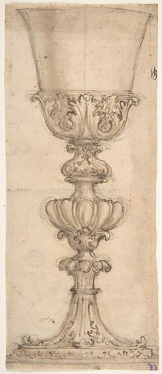 Design for a Chalice with Acanthus and Egg and Dart Motif (Recto). Sketch for a Half Base of an Urn (Verso). Giovanni Battista Foggini (Italian, Florence 1652–1725 Florence) Date: 1652–1725
