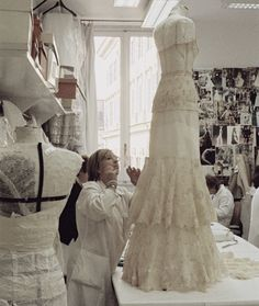 In the Atelier/Workroom. The creation of a dress presented in the Valentino Haute Couture Collection for Spring/Summer 2011 Notice the manual labor. There are no sewing machines. ZsaZsa Bellagio: John Galliano