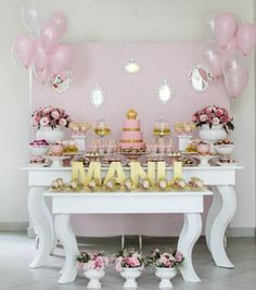 Gold and Pink Princess Party Ideas Pink Princess Party, Princess Birthday, Girl Birthday, Birthday Decorations, Baby Shower Decorations, Elephant Decorations, First Birthday Parties, First Birthdays, Candy Table
