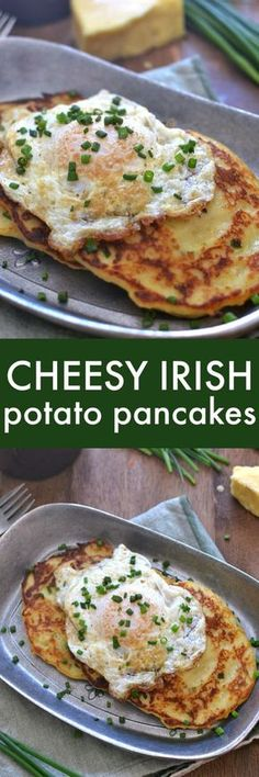 Savory Irish Potato Pancakes, loaded with Kerrygold Skellig cheese, fresh chives, and minced garlic for a delicious twist that's perfect for breakfast, lunch, or dinner!