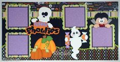 CraftEcafe Halloween Premade Scrapbook Page Paper Piecing For Album Boy Girl