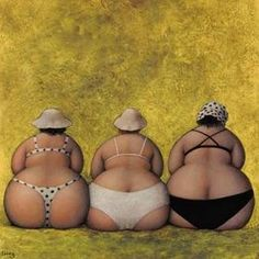 Plus-size Art series : Jeanne Lorioz Illustrations, Illustration Art, Plus Size Art, Fat Art, Three Sisters, Jeanne, Fat Women, French Artists, Big And Beautiful