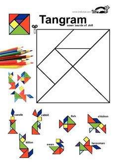 Math for kids - Tangram pattern activities worksheet, patterns activity Math Games, Toddler Activities, Preschool Activities, Tangram Puzzles, Math Art, Math For Kids, Teaching Math, Maths, Math Lessons