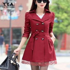 Spring New Fashion Womens Double Breasted Belted Trech Female Lapel Slim Fit Trench Bowtie Coat Mid Long Lace Coats Size 3XL #Affiliate