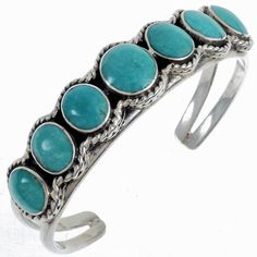 Old Pawn Turquoise Bracelet Navajo Signed Cuff