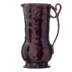 """Lot# 123 GEORGE OHR (1857 - 1918) Fine and tall pitcher with ribbon handle, gunmetal, raspberry, and gray sponged-on glaze, Biloxi, MS, 1897-1900 Stamped G.E. OHR, Biloxi, Miss. 8"""" x 4 3/4"""" Published: Ellison, George Ohr, Art Potter, pl. 67 Provenance: The collection of Robert A. Ellison  Estimate: $25,000 - 35000 Sale Price: $27,500"""