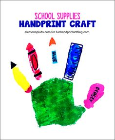 Handprint Back to School Craft