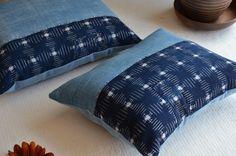 Indigo cushion blue boro patchwork kapok by EthicalLifeStore, £36.00