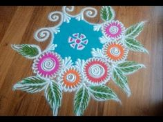 Quick and Easy Rangoli design with colours - YouTube