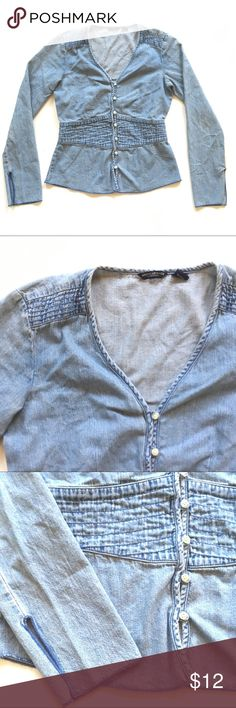 American Eagle Denim Top Like new. 100% cotton. Length is 23.5. Chest is 18. American Eagle Outfitters Tops