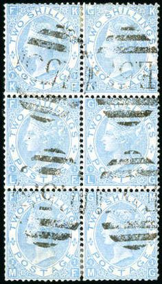 """Great Britain Offices Abroad HAITI, PORT-AU-PRINCE: 1867-80 2s Milky Blue vertical block of six with four strikes of the """"E53"""" numeral, some trivial faults, a beautiful multiple of this scarce shade, ex Glassco, cert. RPS (1981) (SG 120b £1'900 each without the premium for Used Abroad)  Lot condition    Dealer David Feldman S. A. Geneva  Auction Starting Price: 3000.00 EUR"""
