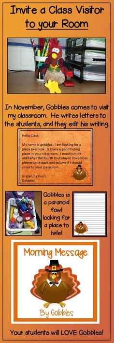 Can Gobbles hide in your classroom? He is a writing challenged turkey who is looking for a place to hide until Thanksgiving. He teaches editing and letter writing skills to your students with daily letters to the children. This is the perfect morning work! $
