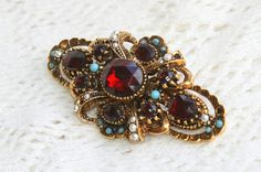 Vintage Red Rhinestone Brooch Pin Antiqued by CamanoIslandVintage, $45.00