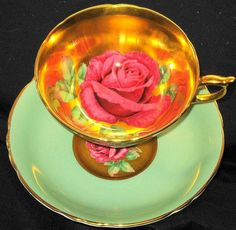 PARAGON GOLDEN PINK ROSE GOLD GREEN WIDE TEA CUP AND SAUCER