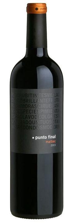 Punto Final Malbec Clasico -- uuummm, yummy dk. cherry/berry/chocolate, aged in French oak.  Old vines, small batch - Mendoza, Argentina.  gotta have it!