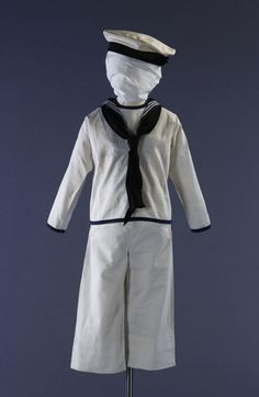 Boy's sailor suit worn with a white cotton cap (marked HMS VICTORY on the cap band), c. 1890