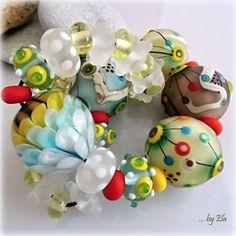"""ELA - """"Universe"""" - Handmade Lampwork Beads (7+24)"""