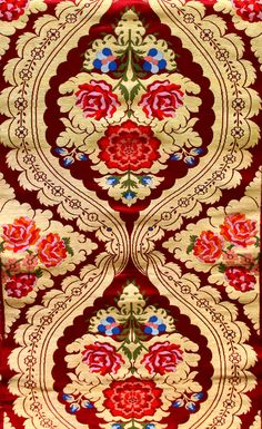 Red Brocade Fabric with Woven Roses.