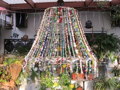 Beaded lampshade that I made! Beaded lampshade that I made! Beaded lampshade that I made! Doily Lamp, Diy Lampshade, Diy Luminaire, Shabby Chic Lamps, Modern Lamp Shades, Light Shades, Diy Chandelier, Chandeliers, Wind Chimes