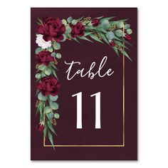 Burgundy and Gold Floral Watercolor Fall Wedding Table Number Customizable winter wedding supplies and accessories Maroon Wedding, Our Wedding, Wedding Ideas, Autumn Wedding, Burgundy Wedding Cake, Dream Wedding, Wedding Bells, Wedding Reception, Mauve Wedding