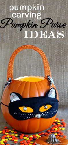 Pumpkin-Carving-Ideas-How-to-make-a-pumpkin-purse-to decorate your home or to use to hold candy