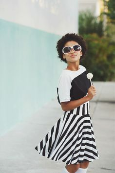 Black and White Striped Skater Skirt via FROSK Girls | Tween Girls Age Appropriate Fashion. Click on the image to see more!