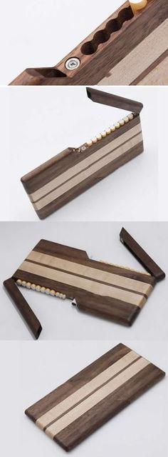 Walnut & Maple Wooden Wood Cigarette Case Box Holder