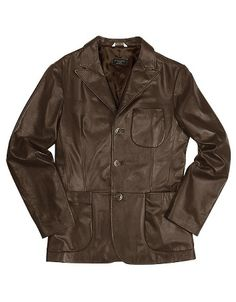 Men's Brown Italian Genuine Leather Blazer - Forzieri