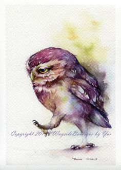 "PRINT – The Owl keep walking Watercolor painting 7.5 x 11"" by WaysideBoutique on Etsy"