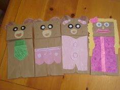 Nat Mac's Knick Knacks: At Home Drive-In and Paper Bag Puppets Rhyming Preschool, Bears Preschool, Preschool Crafts, Preschool Plans, Classroom Crafts, Fairy Tale Crafts, Fairy Tale Theme, Fun Crafts For Kids, Art For Kids
