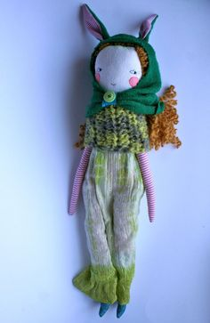 "Lovely Lucy golden haired rag doll - 21""ish cloth doll, handmade rag doll with golden curly wool hair, pink cheeks, green rabbit hood"