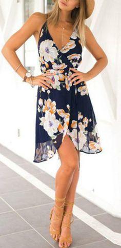 Women's V Neck Floral Print Slip Dress