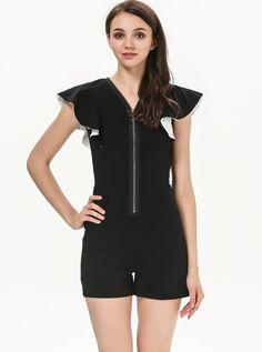Black Sleeveless Ruffle Zipper Slim Jumpsuit US$24.55