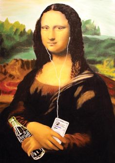 A picture of Mona Lisa with an Ipod and Coke at the World of Coca Cola. [Siliconeer photo]