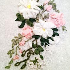 Silk ribbon embroidered lavender sachet. http://caffeinatedkitten.wix.com/crafts