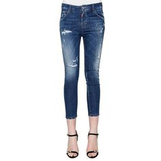 dsquared2 Jeans Cropped Skinny Boyfriend (17,045 INR) ❤ liked on Polyvore featuring jeans, blue, blue jeans, cropped denim jeans, blue denim jeans, super skinny jeans and boyfriend jeans