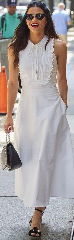 Who made Jenna Dewan-Tatum's black sandals, sunglasses, jewelry, white pleated button dress, and studded handbag?