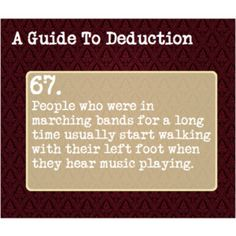 Marching Band Problems--It's true. Also, we walk in time to any music we hear.