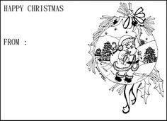 greeting card christmas with santa walking coloring page