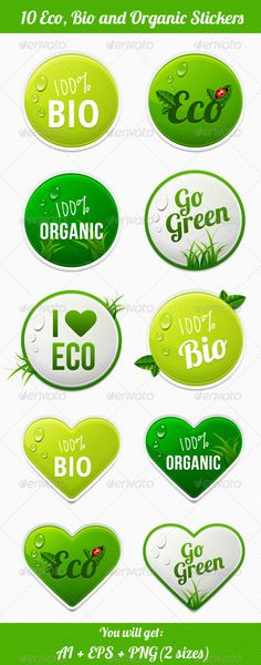 Eco Stickers - #Badges & Stickers #Web Elements Download here: https://graphicriver.net/item/eco-stickers/4447813?ref=alena994
