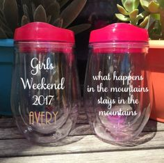 What Happens In The Mountains Wine Glass Stemless Wine Tumbler Girls Weekend Camping Bachelorette Weekend Personalized To go wine by AveryAnnBoutique on Etsy
