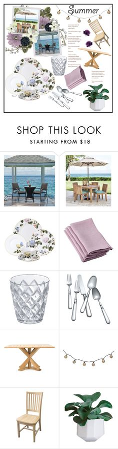 """""""Outdoor Dining"""" by hastypudding ❤ liked on Polyvore featuring interior, interiors, interior design, home, home decor, interior decorating, Home Decorators Collection, Portmeirion, Koziol and Yamazaki"""