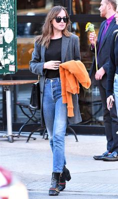 Celebrity Outfit Ideas for Looking Slim While Bundling Up via @WhoWhatWear