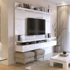 Create a stylish theatrical vibe for your room with this Manhattan Comfort City Floating Wall Theater Entertainment Center in Maple Cream and Off White. Tv Cabinet Design, Tv Wall Design, House Design, Ikea Design, Floating Entertainment Center, Home Entertainment Centers, Entertainment Furniture, Entertainment Stand, Tv Wanddekor